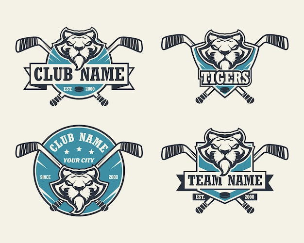 Logotipo do esporte cabeça de tigre. conjunto de logotipos de hóquei.