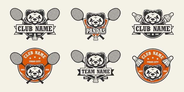 Logotipo do esporte cabeça panda conjunto de logotipos de badminton.