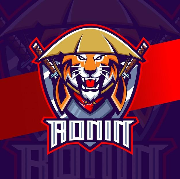 Logotipo do esporte da mascote do tigre ronin