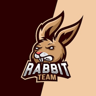 Logotipo do esporte de mascote de coelho