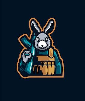 Logotipo do esporte do coelho do artilheiro e