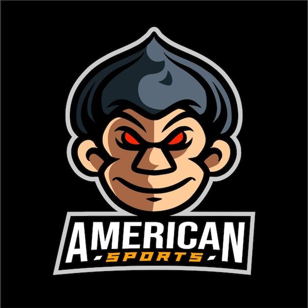 Logotipo do esporte do mascote da cabeça do macaco