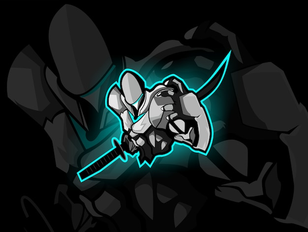 Logotipo do esporte do samurai robot / esport