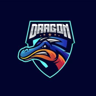 Logotipo do esporte dragão impressionante