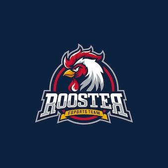 Logotipo do esporte mascote galo. mascote de cabeça de galo de galinha