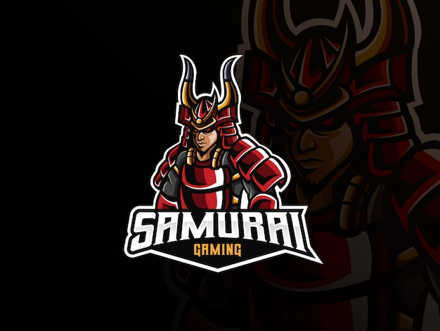 Logotipo do esporte mascote samurai