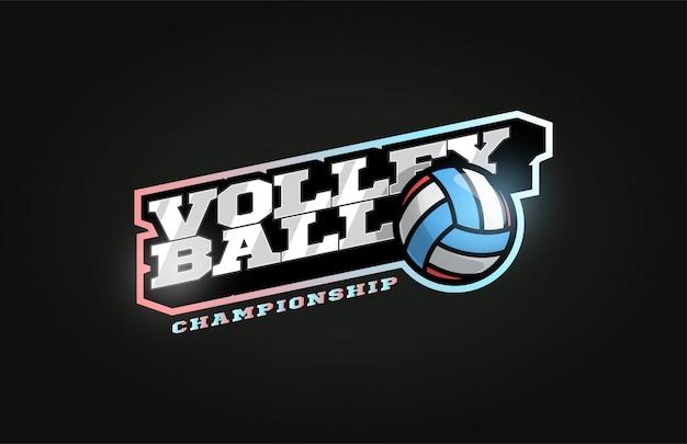 Logotipo do esporte profissional moderno de voleibol em estilo retro