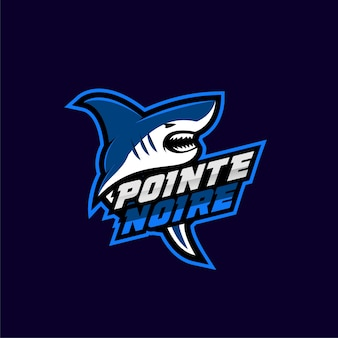 Logotipo do esporte tubarão azul