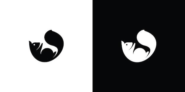 Logotipo do esquilo silhueta premium vector