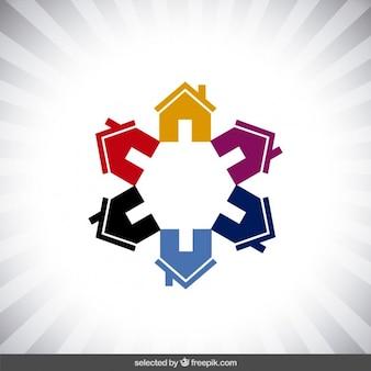 Logotipo do estado real com casas coloridas