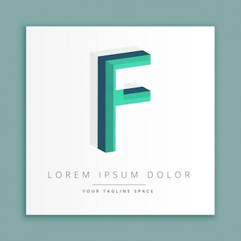 Logotipo do estilo abstrato 3d com a letra f