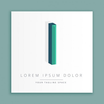 Logotipo do estilo abstrato 3d com letra i