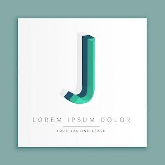 Logotipo do estilo abstrato 3d com letra j