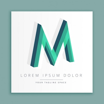 Logotipo do estilo abstrato 3d com letra m