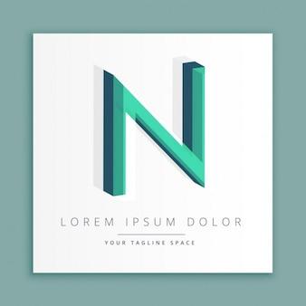 Logotipo do estilo abstrato 3d com letra n