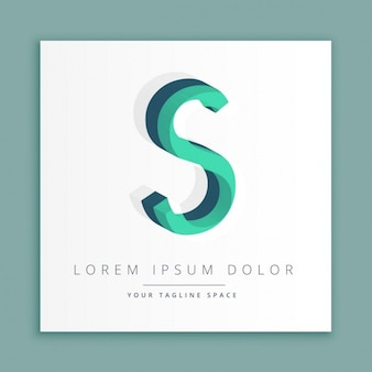 Logotipo do estilo abstrato 3d com letra s