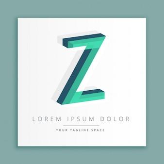 Logotipo do estilo abstrato 3d com letra z