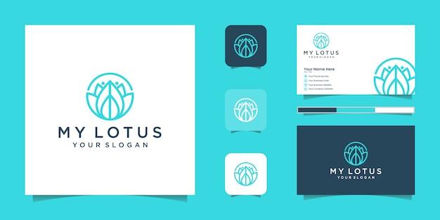 Logotipo do estilo de arte de linha de flor de lótus. centro de ioga, spa, logotipo de luxo do salão de beleza. logotipo, ícone e cartão de visita