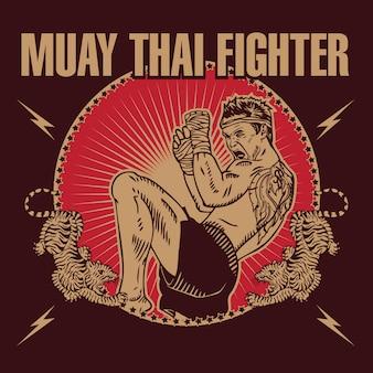 Logotipo do estilo do emblema dos lutadores de muay thai