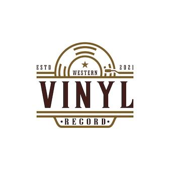 Logotipo do estúdio de gravação com discos de vinil