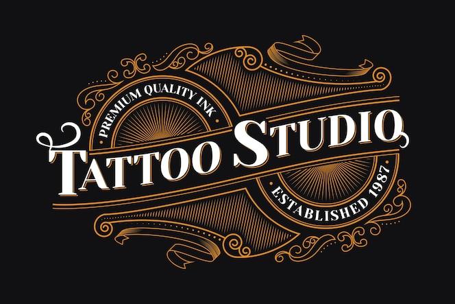 Logotipo do estúdio de tatuagem vintage