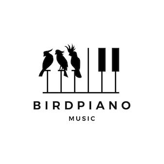Logotipo do evento do curso da música do piano da competição do pássaro