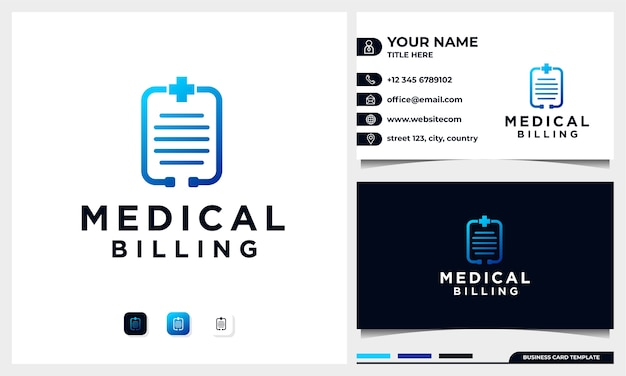Logotipo do faturamento médico, estetoscópio e conceito de papel e símbolo médico. design de logotipo com modelo de cartão de visita
