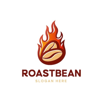 Logotipo do feijão assado de fogo