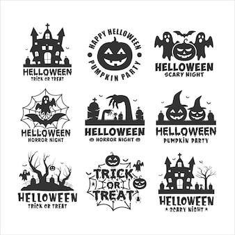 Logotipo do feliz dia das bruxas preto e branco