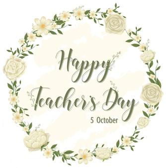 Logotipo do feliz dia do professor com tema floral