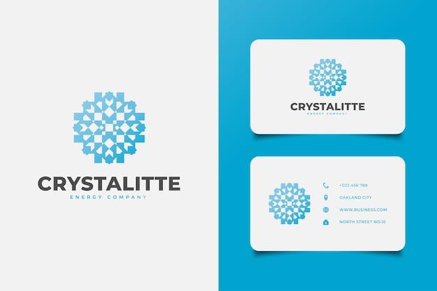 Logotipo do floco de neve com estilo de mandala em conceito gradiente azul para o seu negócio