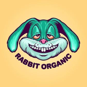 Logotipo do fly rabbit organic mascot