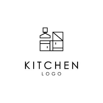 Logotipo do fogão, logotipo da cozinha, logotipo do conjunto de culinária para empresas alimentícias