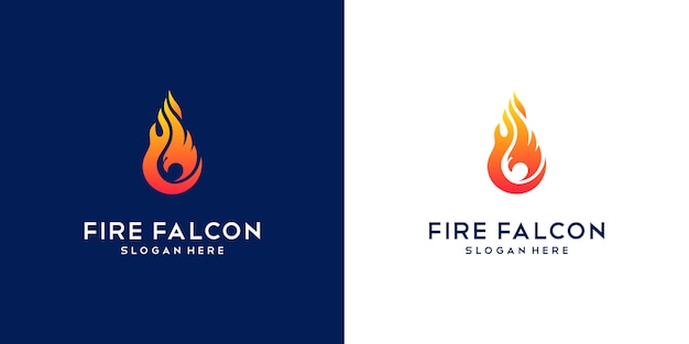 Logotipo do fogo do falcão. empresa de design plano mínimo phoenix, eagle e hawk.