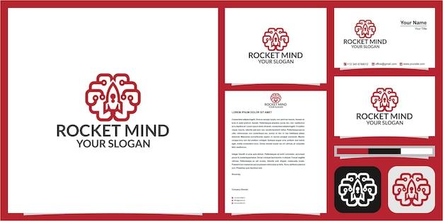 Logotipo do foguete do cérebro ou da mente do foguete com cartão de visita