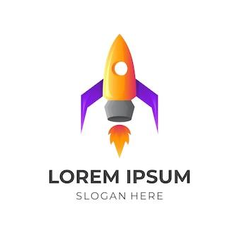 Logotipo do foguete rápido com estilo colorido