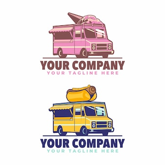 Logotipo do food truck de sorvete e cachorro-quente food truck