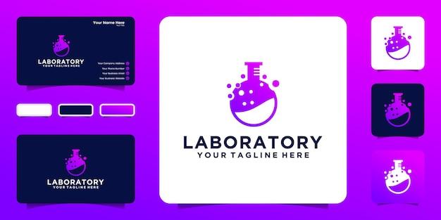 Logotipo do frasco de pesquisa de dados de tecnologia de laboratório e inspiração de cartão de visita