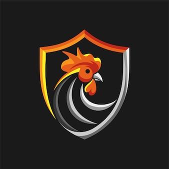 Logotipo do galo com conceito de escudo
