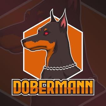 Logotipo do gaming squad, mascote do cão dobermann