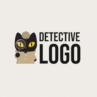 Logotipo do gato preto de detetive