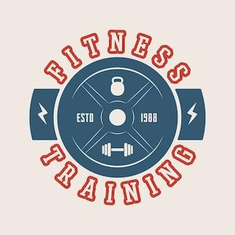 Logotipo do ginásio, crachá, etiqueta, marca em estilo vintage. ilustração vetorial. arte gráfica