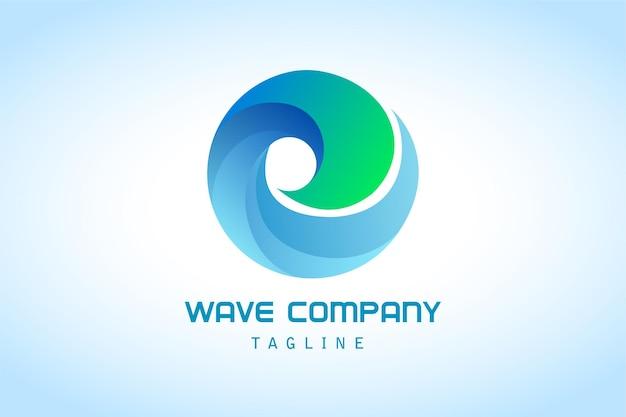 Logotipo do gradiente abstrato da onda do círculo verde azul