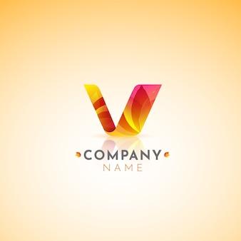 Logotipo do gradiente com a letra v