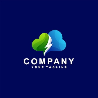 Logotipo do gradiente de cor da nuvem