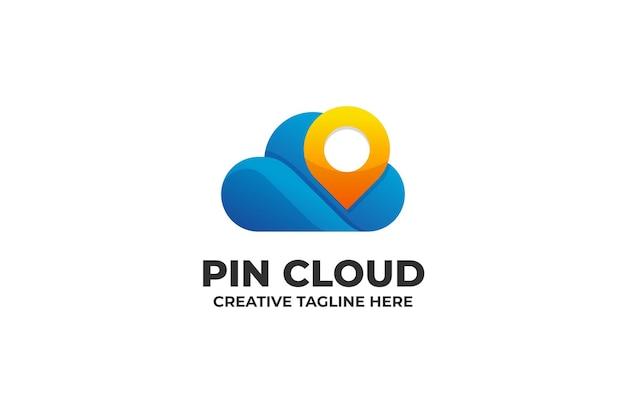 Logotipo do gradiente do mapa de localização do pin cloud navigation