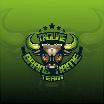 Logotipo do green bull mascot esport