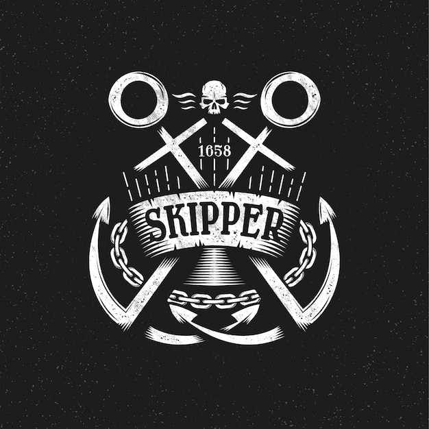 Logotipo do grunge marinho com duas âncoras cruzadas, fita e corrente.
