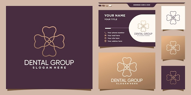 Logotipo do grupo odontológico com estilo linear exclusivo e design de cartão de visita premium vector