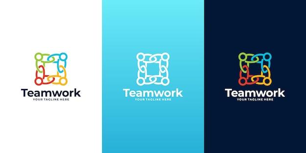 Logotipo do grupo social colorido criativo, logotipo do trabalho em equipe